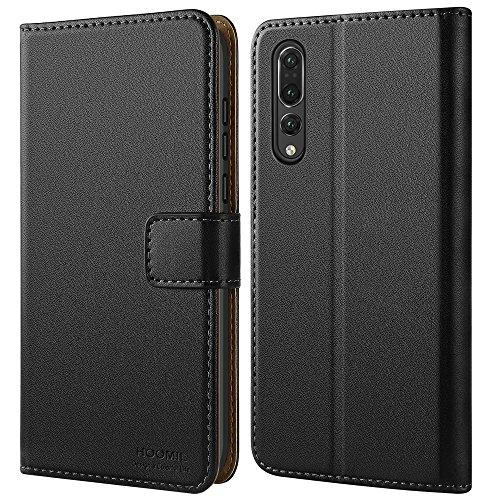 HOOMIL Huawei P20 Pro Hülle Leder Flip Case Handyhülle für Huawei P20 Pro Tasche Brieftasche Schutzhülle - Schwarz - Aus Leder Kopfhörer-case