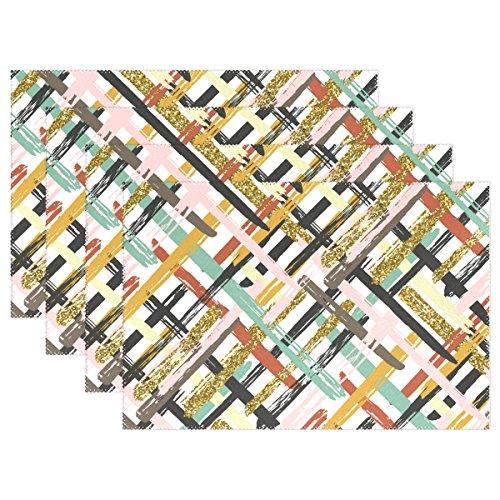 mydaily bunt gestreift Vintage Tischsets für Esstisch Set von 4hitzebeständig waschbar Polyester Küche Tisch MATS, Polyester, multi, 12 x 18 in (Bunt Esstisch-set)