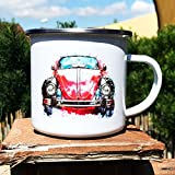 Cadouri - Camping-Tasse mit Motiv Rotes Auto Kaffeetasse Kaffeebecher Emaille-Tasse Campingbecher - 300 ml