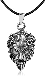 BAEBAE Unisex Sterling Silver Plated the king Roaring Lion Head charm Pendant Necklace,black leather chain