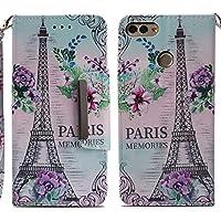 Handyhülle Huawei Y9 2018,HUDDU Paris Blumen Muster Rosa Schutzhülle Huawei Y9 2018 Hülle Flip Leder Tasche Slim... preisvergleich bei billige-tabletten.eu