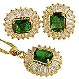 Verde esmeralda corte de la esmeralda del collar de los pendientes pendientes de la piedra preciosa del GP 18K Conjunto de joyas