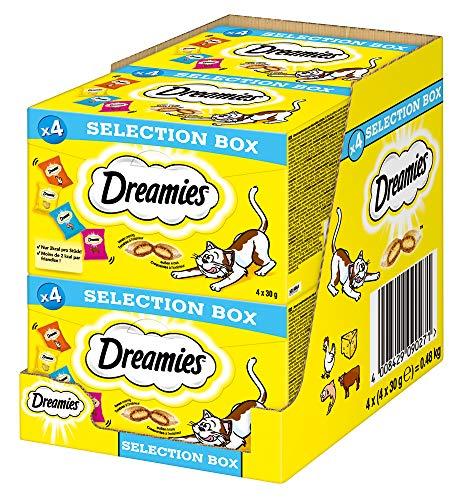 Dreamies Katzensnacks Katzenleckerli Selection Box mit Huhn, Käse, Lachs, Rind, 4 Packungen (4 x 120g)