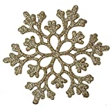 Tomtopp 24pcs Snowflakes Christmas Decor 10cm Glitter Snow Flake Ornaments(Gold)