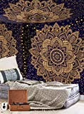 Aakriti Gallery Tapestry Queen Ombre Gift Hippie Tapestries Mandala Bohemian Psychedelic Intricate Indian Bedspread 92x82 Inches (Blue Golden)