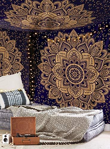 Aakriti Gallery, Copriletto indiano, stile mandala, bohémien, con intricato motivo psichedelico, 234x 208cm Blue Golden