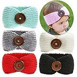 Ranipobo 6 Pack Bébé Fille Tricot Crochet Turban Bandeau Chaud Bandeaux pour la Tête De Cheveux Nouveau-Né Bowknot Band