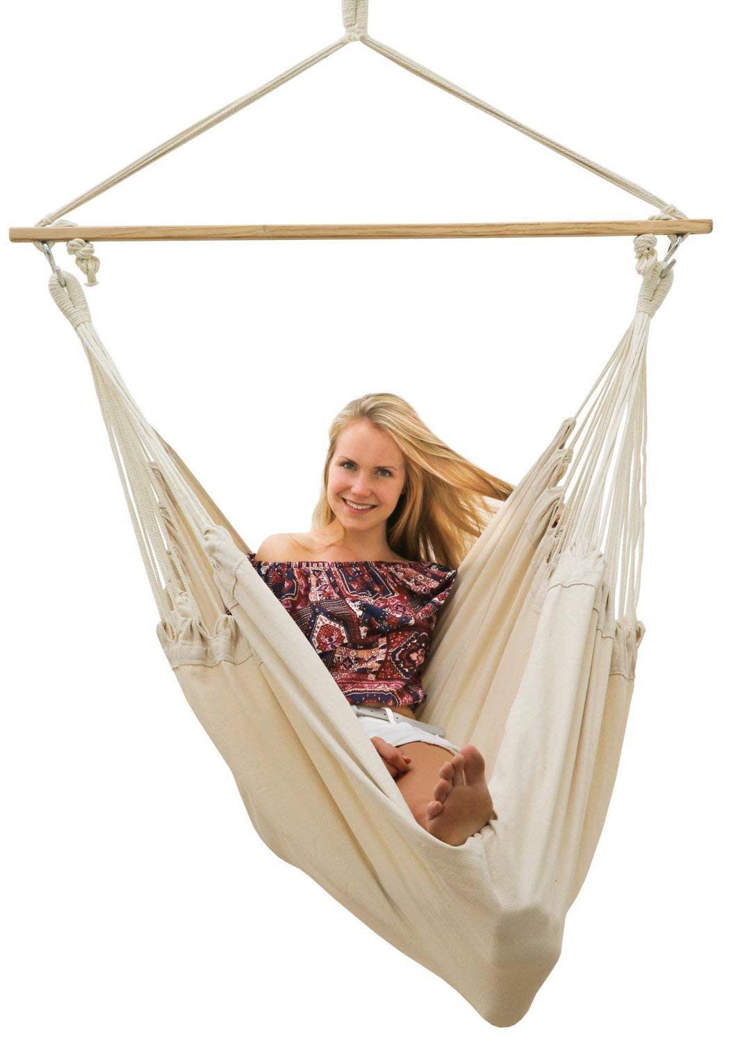 AMANKA Innovative XXL Swing Chair 185x130cm Hanging Seat made of cloth Beige AMANKA SAFER: INNOVATIVE ANTI-SLIP SYSTEM - no risk that the hammock slips off the spreader-bar: the ropes are firmly fixed to the wooden bar and the large canvas is hung with two sturdy metal hooks EXTRA LARGE PIECE OF CLOTH - the strong canvas is made of natural cotton. It is large approx. 185 x 130 cm, so there is plenty of space to sit and even lie down, both alone and in 2 people - suitable for adults and kids SINGLE-SPREADER BAR MADE OF WOOD - the longer the spreader bar, the more comfortable the hammock. Our four-square bar is 115 cm long! It will soon become your favorite spot for reading, dreaming and playing - perfect even as a children's swing 6