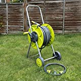 Carrete de manguera de 30 metros, en carrito con ruedas, se mantiene de pie, para regar jardines