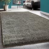 Shaggy Rug Deep Pile Long Pile Living Room Rugs XXL Plain Brown Taupe, Size:10x10 cm Sample