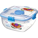 Sistema To Go Salad with Dressing Pot and Cutlery, 1 L - Clear/Blue