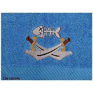 Pirat Handtuch bestickt mit Motiv und Name Piratenhandtuch Säbel