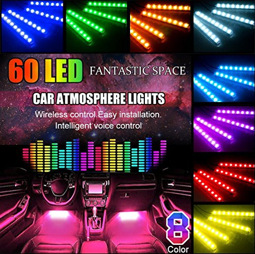 Auto LED Streifen, POMILE 60 LED (4 x 27CM) RGB Innenraumbeleuchtung USB Port Atmosphäre Beleuchtung mit Sound Aktive Funktion und kabelloser Fernbedienung [Energieklasse A+] USB Port, 5V - 12V -