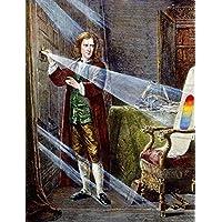 Sir Isaac Newton /N(1642-1727). English Physicist And Mathematician. Newton Dispersing Sunlight Through A Prism C1666. Wood Engraving 19Th Century. Artistica di Stampa (45,72 x 60,96 cm)