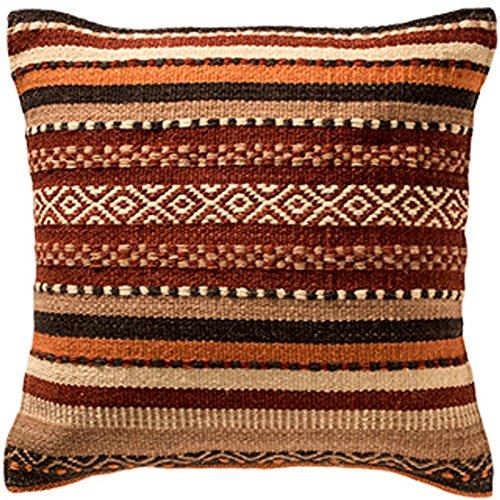 Fair-Trade Kelim-Kissenbezüge, handgefertigt auf Handwebstühlen aus Wolle und Baumwolle (Verhältnis: 80 / 20) und mit natürlichen Farbstoffen, Wolle baumwolle, braun, 45 x 45 cm -