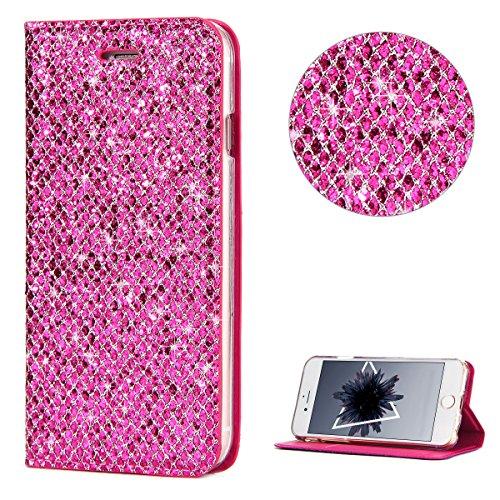 iPhone 6 Plus Hülle iPhone 6S Plus Handyhülle - Anfire Glitter Bling Bling Schutzhülle Weiche PU Leder + TPU Bumper Flip Handy Case Tasche Elegant Full Body Schutz Hülle Case - Ersatz-bildschirm-pink Iphone 6