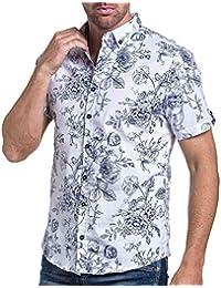 BLZ jeans - Chemisette homme blanche imprimé à fleurs