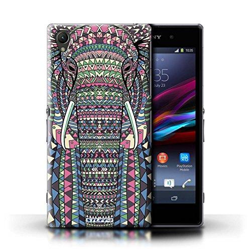 Coque en plastique pour Sony Xperia Z1 Collection Motif Animaux Aztec - Hibou-Mono éléphant-Couleur