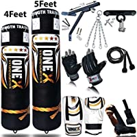 Onex NEW 3-4-5 FT Filled Heavy Punch Bag Buyer Build Set,Chains,Bracket, Punching Gloves for Training Fitness Water proof Bag MMA