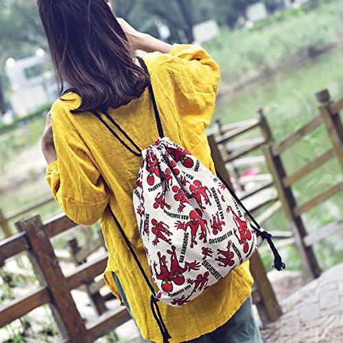 Outreo Zaini Firmate Borsetta Donna Borsa Moda Coulisse Backpack Borsello Vintage Sacchetto Studenti Ragazza Scuola Zaino Casual Bag per Università Borse Tasca Tela Rosso