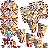 Procos/Carpeta Assiettes de fête Kit * Winnie l'Ourson * 53pièces avec 16+ 16+ 20serviettes +/décoratif/Ourson Tasse Alphabet Anniversaires d'Enfants Enfants Fête d'anniversaire Thème Ballons