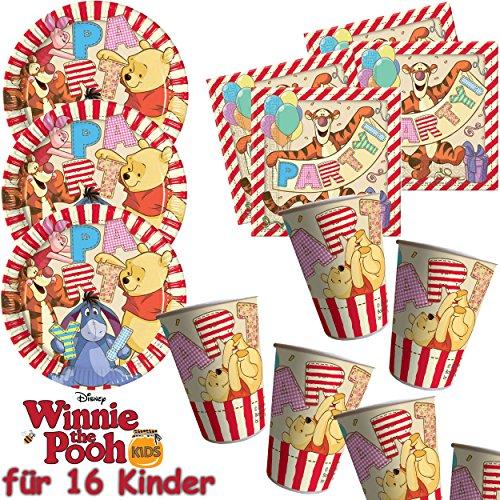 Procos/Carpeta 53-Teiliges Party-Set * Winnie Pooh * mit 16 Teller + 16 Becher + 20 Servietten + Deko // Puuh Alphabet Kindergeburtstag Kinder Geburtstag Mottoparty Luftballons (Winnie The Pooh Geburtstag Party)
