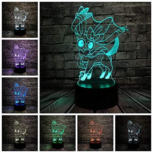 ZHIJINLI Pokemon Go Figura de acción Lámpara 3D RGB Pikachu Eevee Tortuga Pájaro Dragón de Fuego Bola Pokeball Bulbasaur Bahía Papel Luz de Noche de Regalo LED, Interruptor 3 Colores