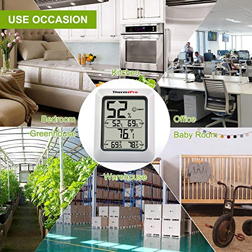 ThermoPro TP50 Thermo-hygromètre Électronique, Thermomètre Hygromètre Intérieur, Écran LCD Digital pour L'affichage de Température et Humidité, Mémoire de Max/Mini, Pile Fournie