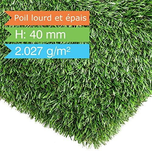 Gazon synthétique casa pura® en rouleau | herbe artificielle | exterieur | balcon, piscine, jardin, terrasse | Nantes - 100x200cm