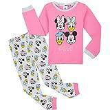 Disney Pijama Niña, Pijama Niña Invierno con Personajes Mickey Mouse Minnie Pluto, Conjunto 2 Piezas Camiseta Manga Larga y P