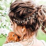 Kercisbeauty – Romantischer Haarschmuck für Braut oder Brautjungfer mit Kristallperlen, 60 cm, rosa/champagnerfarben, für Abschlussball oder Kostümparty