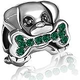 KunBead - Abalorio para pulsera, diseño de perro con piedra natal de cristal para cumpleaños, regalo para mujer