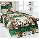 Hochwertige Microfaser Bettwäsche Leopard 135x200 Kissenbezug 80x80 Afrika