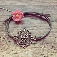 Kompass Armband in Olivgrün Silber Größenverstellbar, compass / maritim / vintage / ethno / hippie / must have / statement / florabella schmuck