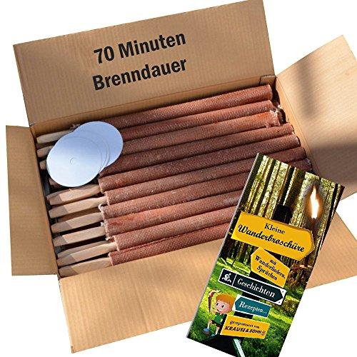 50 St. Fackel 70 Min. Brennzeit - Top Qualitätsfackel - Made in Germany - Wachsfackel inkl. Broschüre
