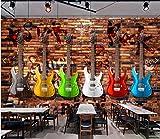 Yosot 3d Angepasste Graffiti Tapeten Retro E-Gitarre Brick Wandbilder Für Bar Ktv Wohnzimmer Hintergrund-140Cmx100Cm