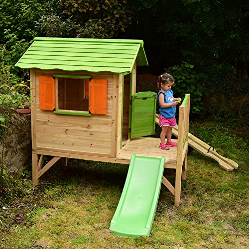 If you are looking for the best kids playhouse for multiple children, the Chestnut Wooden Painted Tower Playhouse with Slide is a classically built playhouse full of exciting features. With a barn style door and 2 large windows, there will plenty of natural light coming inside the playhouse. The playhouse is ideal for age 3+, meaning children of different ages can entertain themselves in it, whilst toddlers can grow with it.