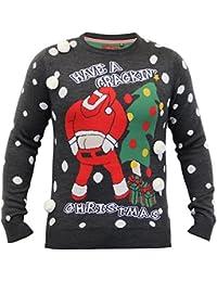 Hommes Pull Noël Brave Soul tricoté Tricot De Noël Père Noël Bonhomme De Neige 3D Pompon Neuf