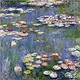 Cuadro sobre lienzo 50 x 50 cm: Water Lilies de Claude Monet - cuadro terminado, cuadro sobre bastidor, lámina terminada sobre lienzo auténtico, impresión en lienzo