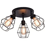 Ganeed Industrial Semi Flush Mount Ceiling Light, 3-Light Rustic Multi-Directional Ceiling Light Fixtures, Black Metal Cage F