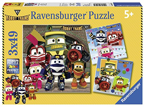 Ravensburger - Puzzle 3 x 49, Robot Trains (08047)