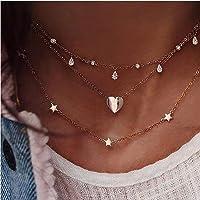 Edary Collana stella a stella nappa a strati edary Collana in cristallo dorato Collana girocollo con ciondolo a cuore…