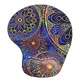 Handgelenkauflage Mouse pad ,Lizimandu rutschfeste Gummi-Unterseite gleichmäßige Maussteuerung ergonomisches Komfort Mauspad mit Handauflage(Blaue Blume/Blue Flower)