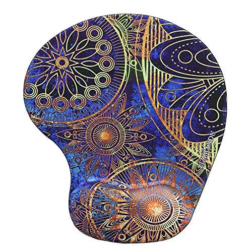 Repose-poignet Tapis de Souris, Lizimandu Mousepad Mat - base en caoutchouc antidérapant - surface spéciale texturée(Fleur Bleue/Blue Flower)