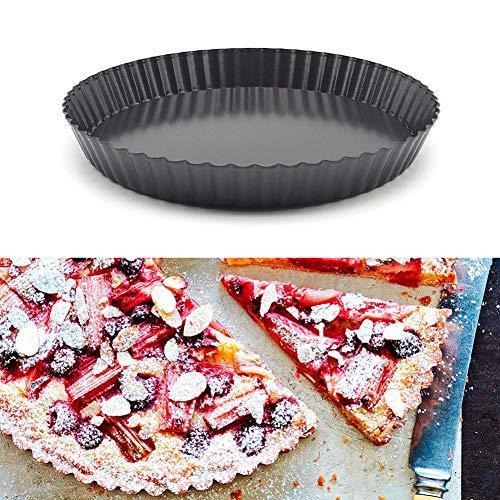 Romdink 9-Zoll-Antihaft-Pizza-Pfanne, Runde Pizza Kuchen Tablett Form Wellige Scheibe, Live Bottom Backform für Kuchen, Keks, Kuchen -