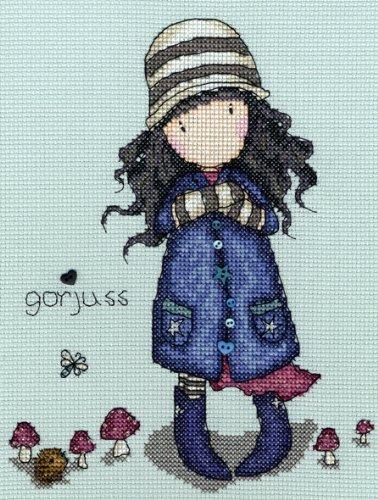 Bothy Threads Gorjuss SETA VENENOSA Kit De Punto De Cruz - 14 cuentas gris/azul Tela Aida - 16cm x 21cm Cuando cosido - Incluye Cuentas y Botones - Hilado 100% algodón hilo