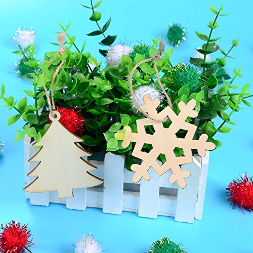 20 Pieces Wooden Christmas Tree and Snowflake Shaped Embellishments Hanging Ornaments Decoration with 20 Pieces Twines