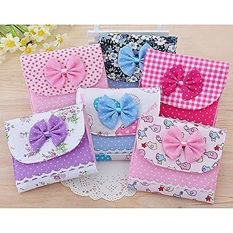Distinct® 2pcs Colorful della ragazza tovaglioli sanitari da trasporto Borsa in cotone piccoli articoli Raccogliere Pouch Bag colore casuale
