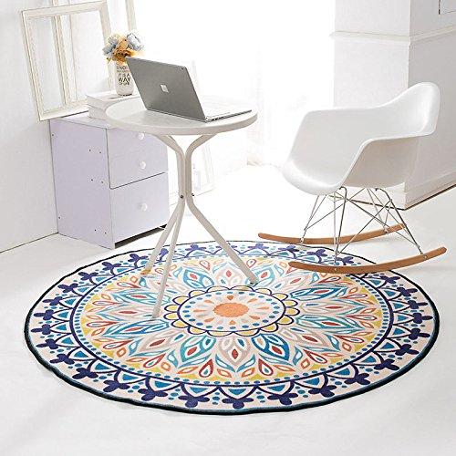 XUHON Floral Motiv Rutschfeste Runde Teppich Teppich Für Wohnzimmer Schlafzimmer Home Decor 3 Größen Zu Wählen (Durchmesser 100 Cm 120 Cm 150 Cm),A-Φ100 (Floral-teppich Aqua)