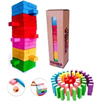 WireScorts® Zenga Wooden Blocks 54 Pcs Challenging Color Wooden Tumbling Tower, Wooden Zenga Toys with Dices Board…